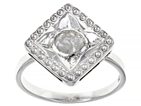 Pre-Owned Polki Diamond Sterling Silver Ring