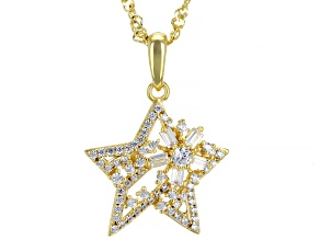 Pre-Owned White Cubic Zirconia 18k Yellow Gold Over Sterling Silver Star Pendant With Chain 1.08ctw
