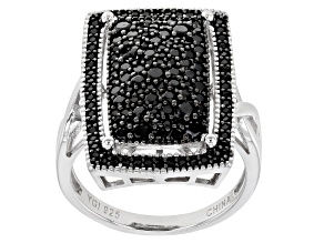 Pre-Owned  Black Spinel Rhodium Over Silver Ring 1.35ctw