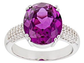 Pre-Owned  Lab Created Purple Sapphire Rhodium Over Silver Ring 6.40ctw