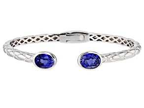 Pre-Owned Blue Lab Created Sapphire Rhodium Over Sterling Silver Filigree Cuff Bracelet 4.00ctw