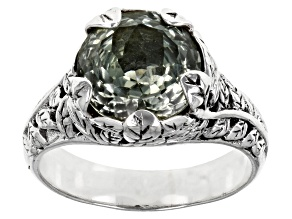 Pre-Owned Green Prasiolite Sterling Silver Ring 3.19ct