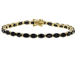 Pre-Owned Black Spinel 18k Gold Over Silver Bracelet 13.80ctw