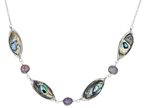 Pre-Owned Black Cultured Freshwater Pearl & Abalone Shell Rhodium Over Sterling Silver Necklace