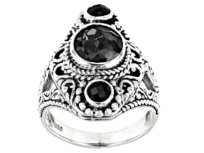 Pre-Owned Black Knight™ Quartz Sterling Silver Ring 1.86ctw