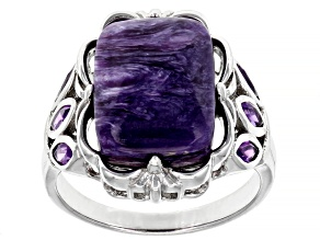Pre-Owned Purple Charoite Rhodium Over Sterling Silver Ring 0.42ctw
