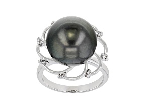 Pre-Owned Cultured Tahitian Pearl & White Topaz Rhodium Over Sterling Silver Ring