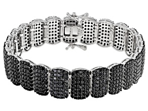 Pre-Owned Black Spinel Rhodium Over Silver Bracelet 11.5ctw