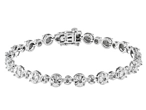Pre-Owned White Diamond Rhodium Over Sterling Silver Tennis Bracelet 0.50ctw