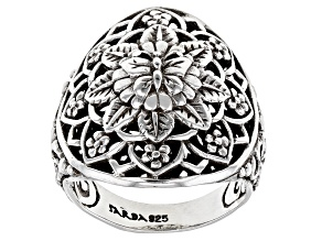 "Pre-Owned Sterling Silver ""True Spiritual"" Floral Medallion Ring"