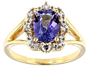 Pre-Owned Blue Tanzanite 18k Yellow Gold Over Sterling Silver Ring 1.67ctw