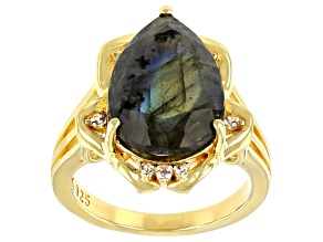 Pre-Owned Gray Labradorite 18K Yellow Gold Over Sterling Silver Ring 6.30ctw