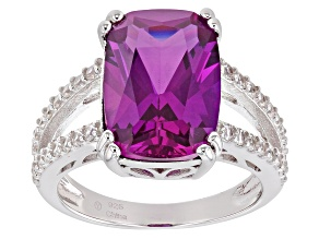 Pre-Owned Lab Created Purple Sapphire Rhodium Over Silver Ring 6.55ctw