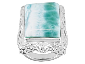 Pre-Owned Blue Larimar Rhodium Over Sterling Silver Ring.