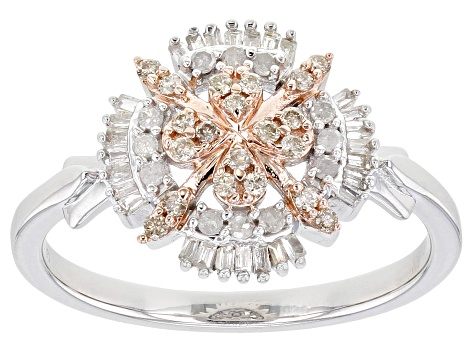 Pre-Owned Champagne And White Diamond Rhodium & 14K Rose Gold Over Sterling Silver Cluster Ring 0.33