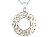 Pre-Owned Sterling Silver and 22K Yellow Gold Small Round Pendant with 18 Inch Wheat Chain