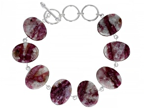 Pre-Owned Pink tourmaline in quartz Rough Sterling Silver Bracelet