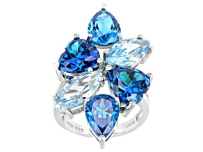 Pre-Owned Blue Cubic Zirconia Rhodium Over Sterling Silver Ring 19.82ctw