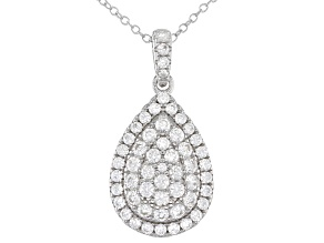 Pre-Owned  White Zircon Rhodium Over Sterling Silver Pendant With Chain 2.00ctw
