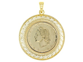 Pre-Owned Lire Coin 18k Yellow Gold Over Silver Pendant