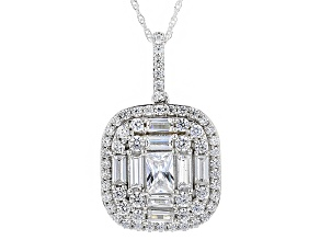 Pre-Owned White Cubic Zirconia Rhodium Over Sterling Silver Pendant With Chain 5.20ctw