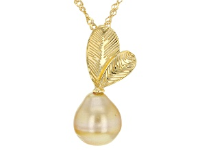 Pre-Owned Golden Cultured South Sea Pearl 18k Yellow Gold Over Sterling Silver Pendant With Chain