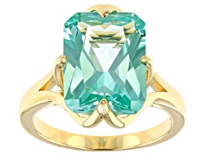 Pre-Owned Lab Created Green Spinel 18k Yellow Gold Over Silver Solitaire Ring 6.71ct