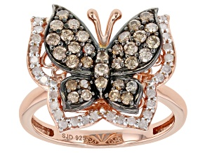 Pre-Owned Champagne And White Diamond 14k Rose Gold Over Sterling Silver Butterfly Ring 0.75ctw