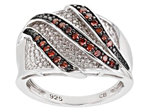 Pre-Owned Red Diamond Rhodium Over Sterling Silver Bridge Ring 0.25ctw