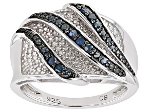 Pre-Owned Blue Diamond Rhodium Over Sterling Silver Bridge Ring 0.25ctw