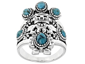 Pre-Owned Blue Turquoise Rhodium Over Sterling Silver 6-Stone Ring
