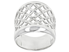 Pre-Owned Sterling Silver Open Dome X Design Ring