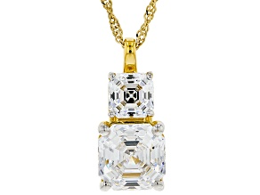 Pre-Owned White Zirconia From Swarovski ® 18k Yellow Gold Over Sterling Silver Pendant With Chain 8.