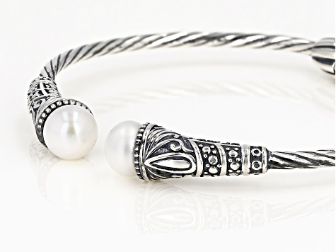 Pre-Owned White Cultured Freshwater Pearl Sterling Silver Bangle