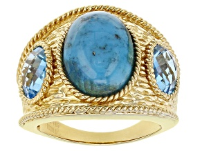 Pre-Owned Blue Turquoise 18K Gold Over Sterling Silver 2.32ctw