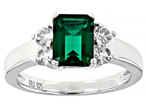 Pre-Owned Green Lab Created Emerald Rhodium Over Silver Ring 1.62ctw