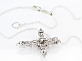 Pre-Owned White Zirconia From Swarovski ® Rhodium Over Sterling Silver Cross Pendant With Chain 5.07