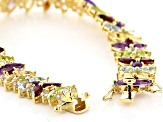 Pre-Owned Multi Gemstone 18k Yellow Gold Over Bronze Pendant and Bracelet Set 24.72ctw