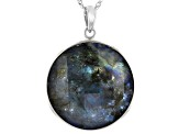 Pre-Owned Gray Labradorite Rhodium Over Silver Reversible Pendant with Chain