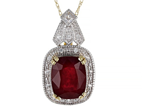Pre-Owned Red Mahaleo® Ruby 10k Yellow Gold Pendant With Chain 4.14ctw