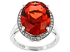 Pre-Owned Orange Lab Created Padparadscha Sapphire Rhodium Over Silver Ring 8.28ctw