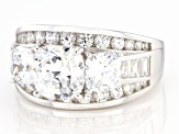 Pre-Owned White Cubic Zirconia Rhodium Over Sterling Silver Ring 3.82ctw