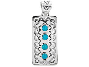 Pre-Owned Sleeping Beauty Turquoise Rhodium Over Silver 4 Stone Pendant