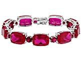 Pre-Owned Red Lab Created Ruby Rhodium Over Silver Bracelet 65.58ctw