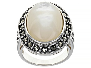 Pre-Owned White Mother-of-Pearl Rhodium Over Sterling Silver Ring