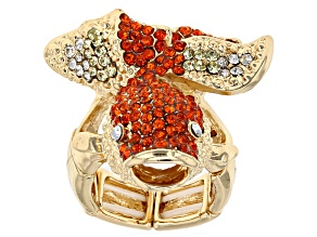 Pre-Owned Multicolor Crystal Gold Tone Koi Fish Stretch Ring