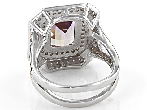 Pre-Owned Bi-Color Ametrine Rhodium over Silver Ring 3.60ctw