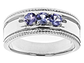 Pre-Owned Blue Tanzanite Rhodium Over Sterling Silver Mens Band Ring .77ctw