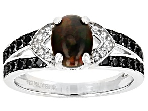 Pre-Owned Black Ethiopian Opal Sterling Silver Ring .94ctw