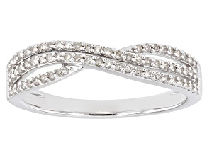 Pre-Owned White Diamond Rhodium Over Sterling Silver Crossover Band Ring 0.25ctw